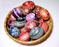 A basket of painted Easter eggs